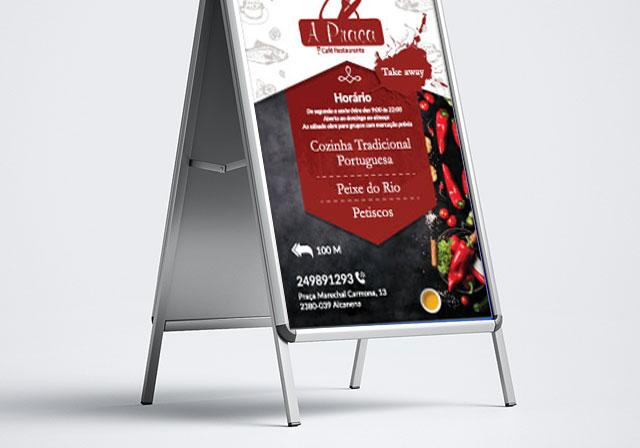 cartaz a praça restaurante