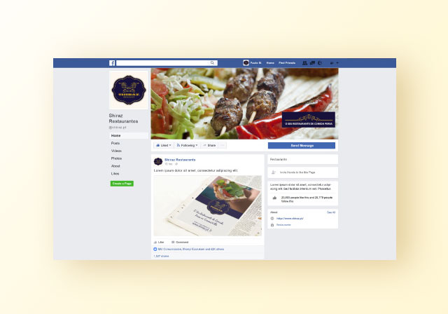 redes sociais facebook shiraz Restaurant