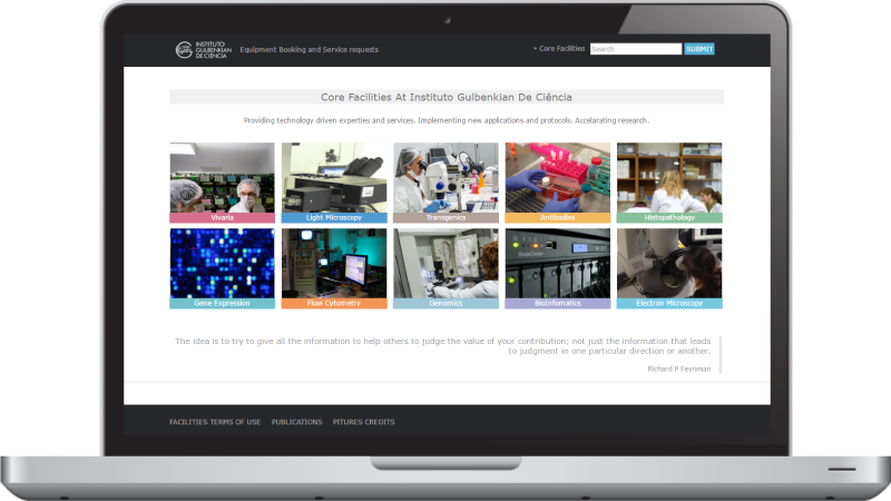 Websites Instituo Gulbenkian de Ciência